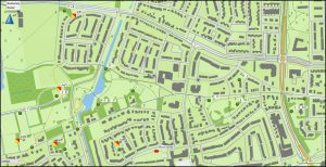 Kaart met de locaties van de zenders